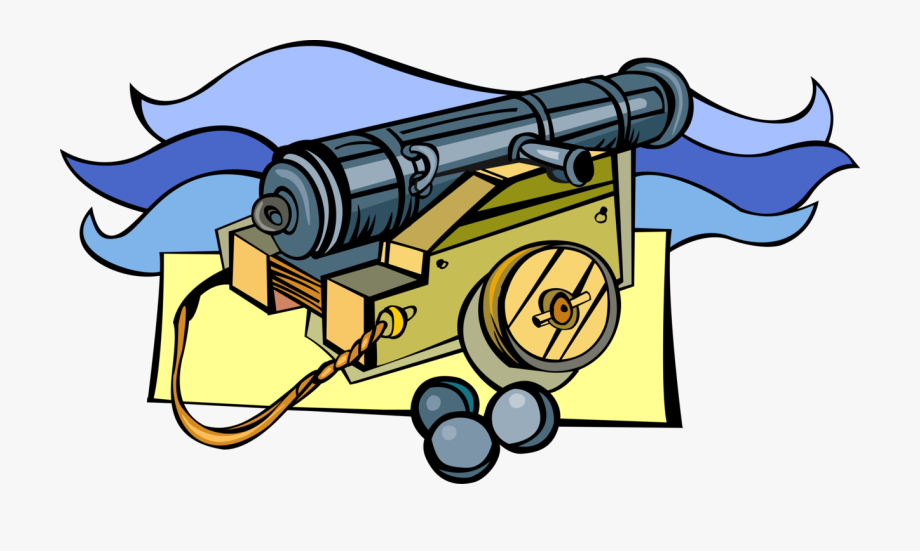 Vector Illustration Of Buccaneer Pirate Ship\'s Cannon.