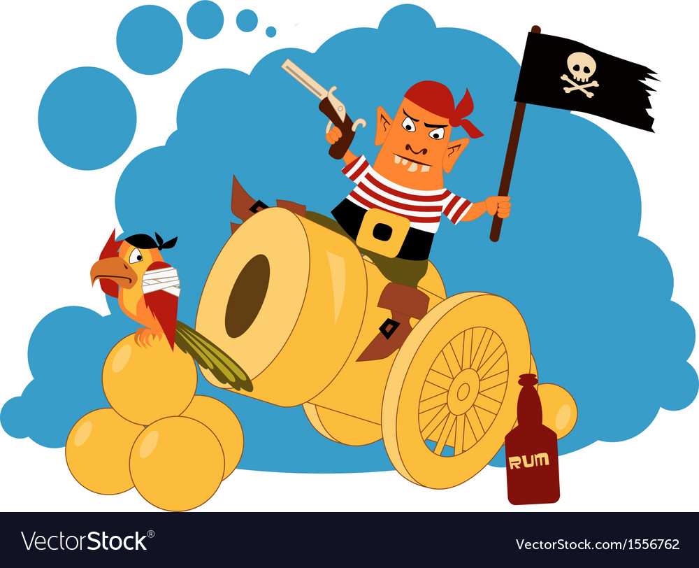 Pirate on a cannon.