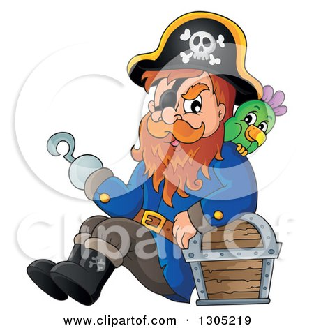 Clipart of a Cartoon Pirate Captain with a Parrot, Leaning Against.