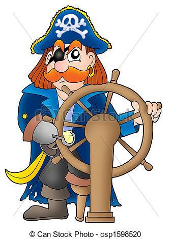 Stock Illustration of Pirate captain on white background.
