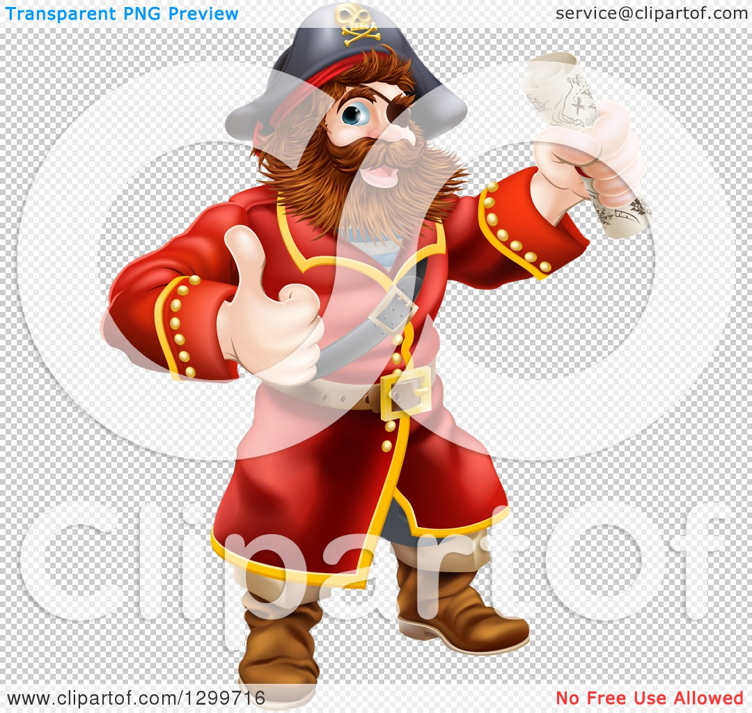 Clipart of a Happy Male Pirate Captain Holding a Treasure Map and.