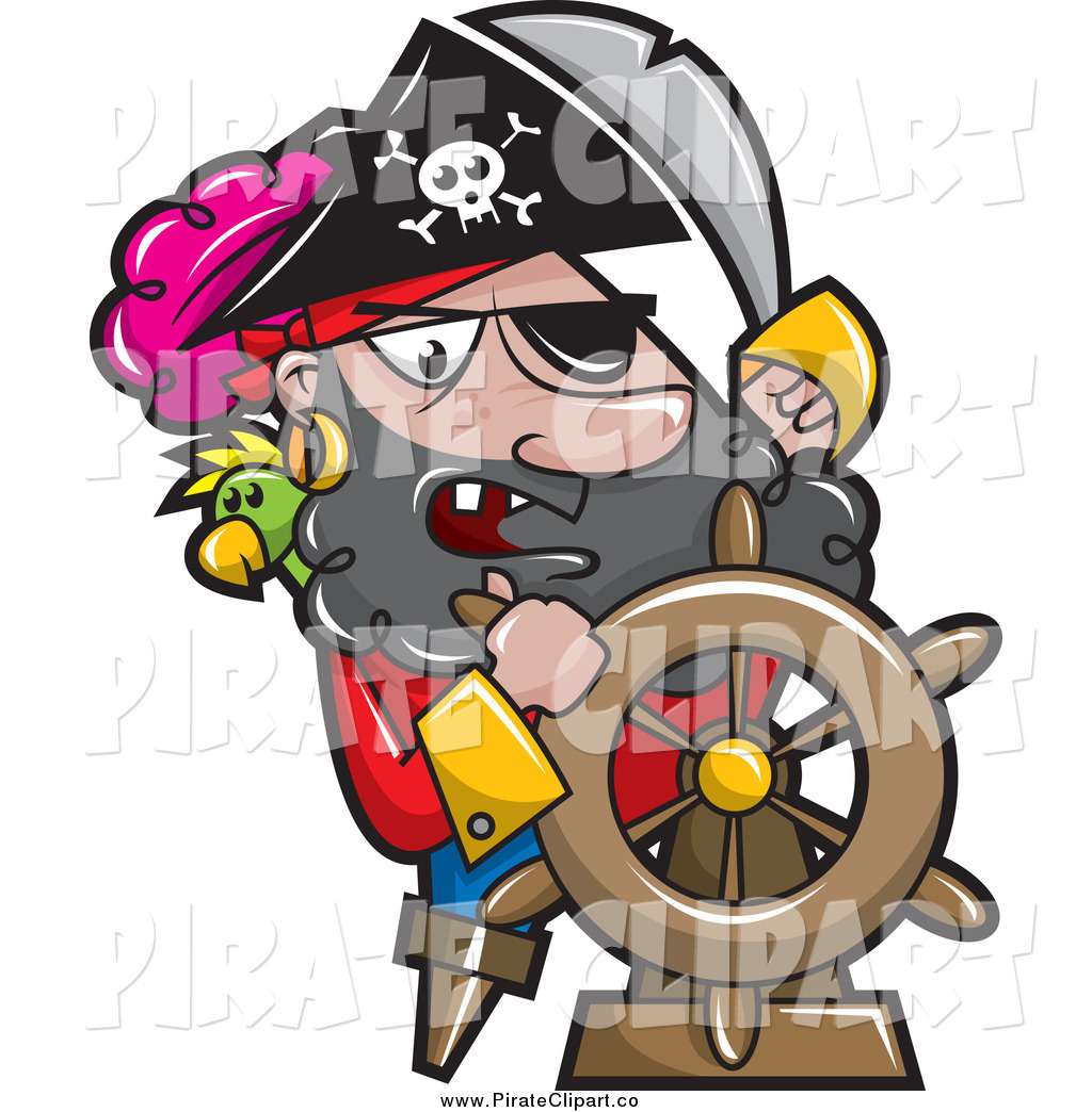 Vector Clip Art of a Pirate Captain Steering a Ships Helm by.