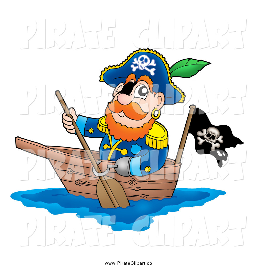 Vector Clip Art of a Pirate Captain Paddling a Boat by visekart.