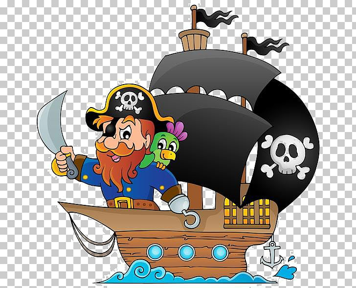 Piracy Cartoon Ship , Cartoon pirate pirate ship PNG clipart.