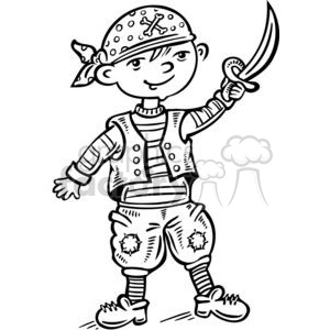 child dressed up like a pirate clipart. Royalty.
