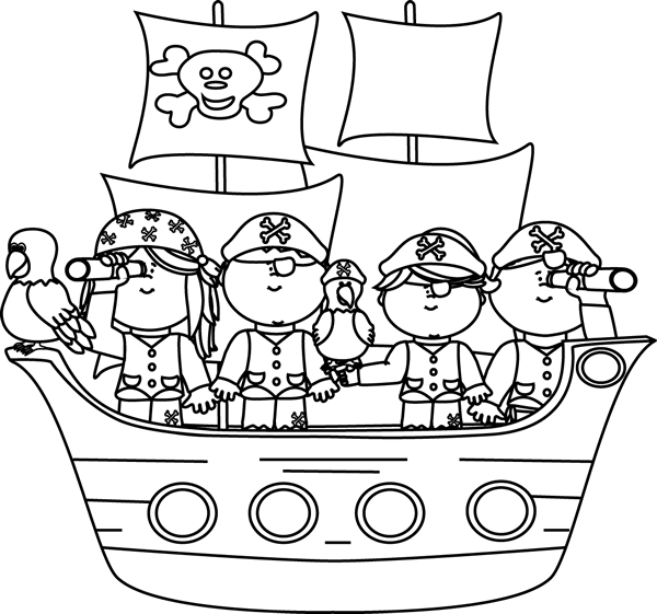 Black and White Pirates on a Pirate Ship Clip Art.