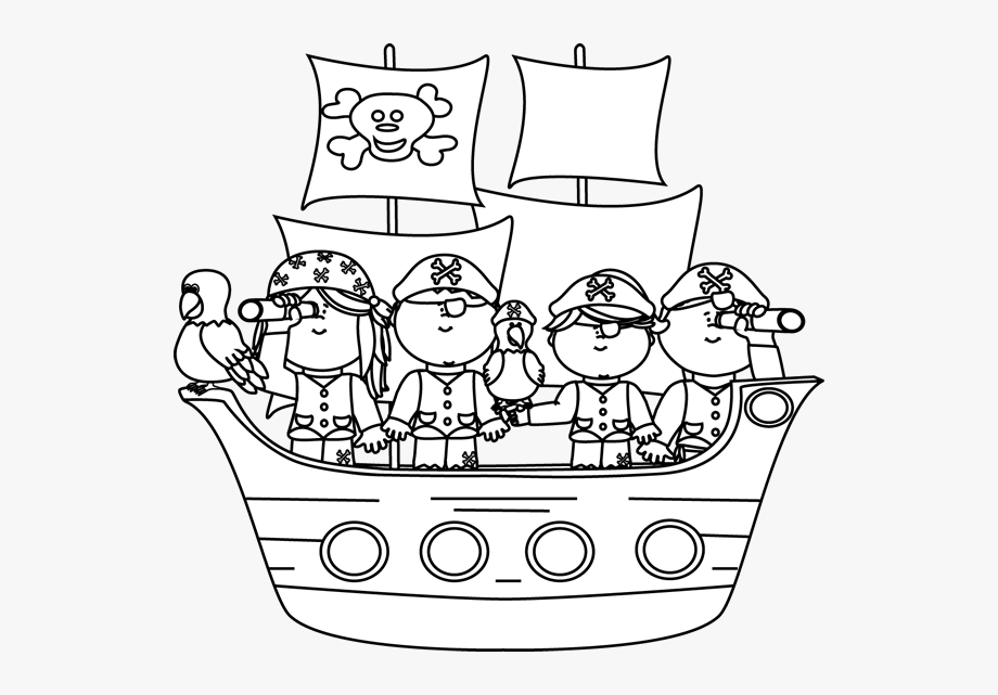 Black And White Pirates On A Pirate Ship.