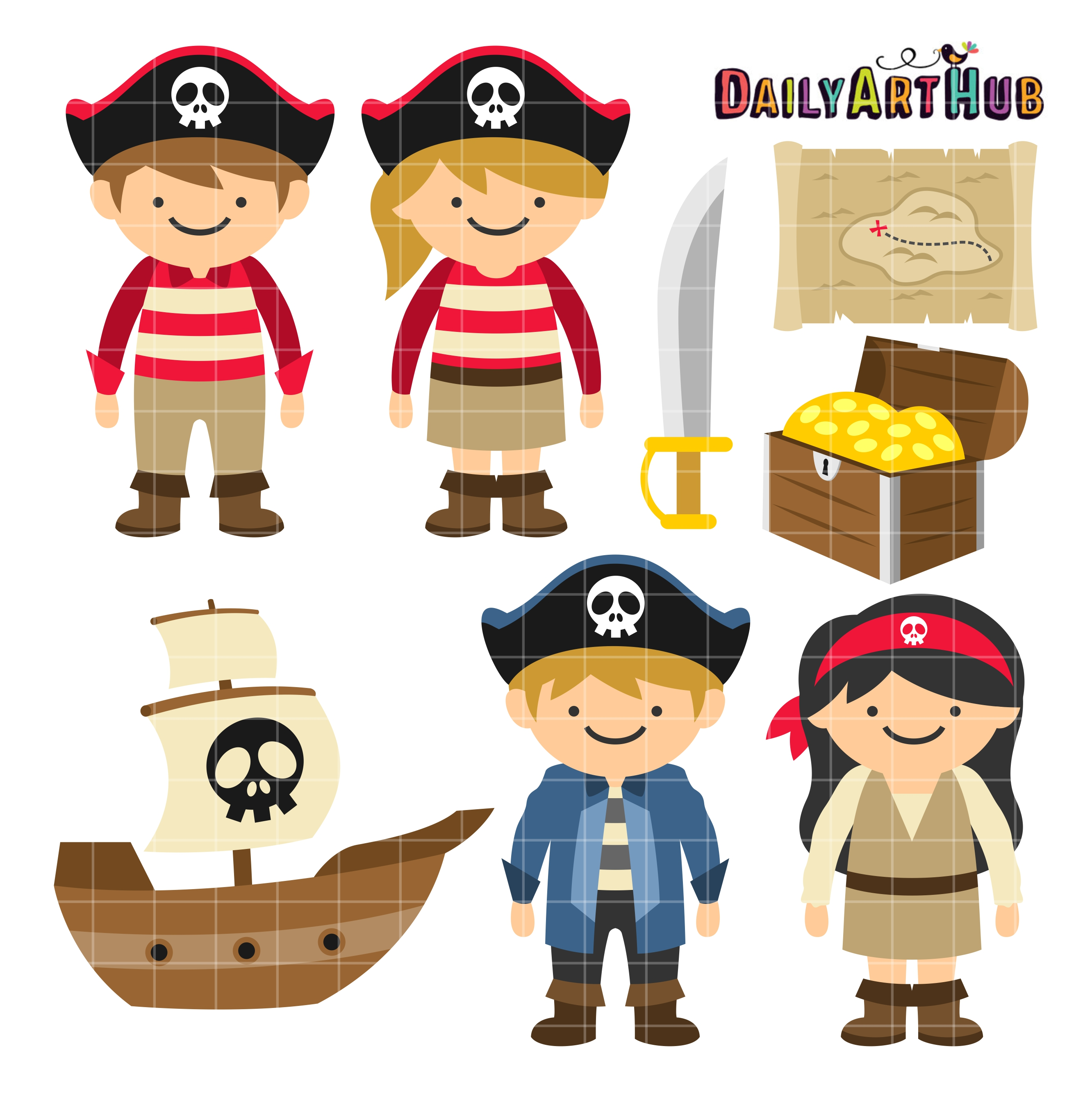 Pirate Kids Clip Art Set.
