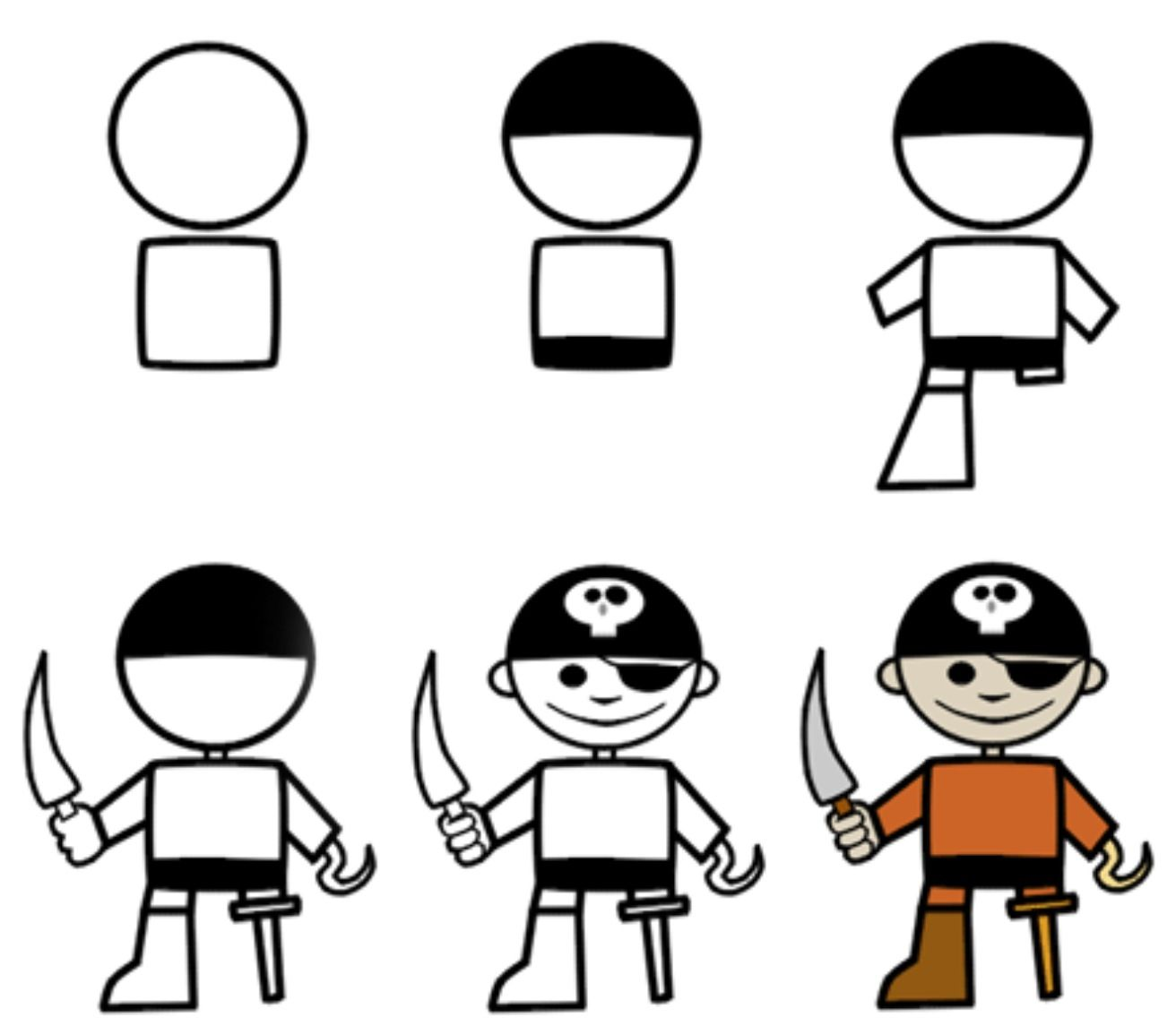How to draw a pirate.