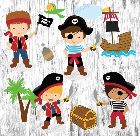 10 Cartoon Kids Pirates clipart,Kids clipart,Kids clipart.