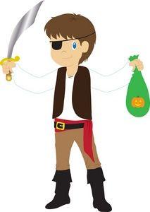Halloween Costume Clipart Image: Kid on Halloween Dressed in.