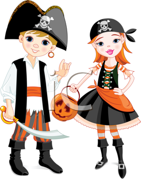 Royalty Free Clipart Image of a Boy and a Girl Dressed as.