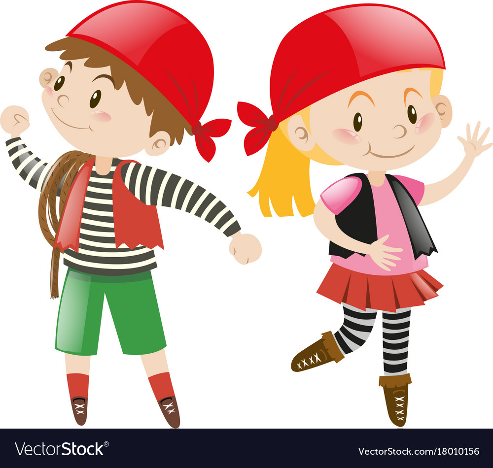 Boy and girl dressed up in pirate costume.