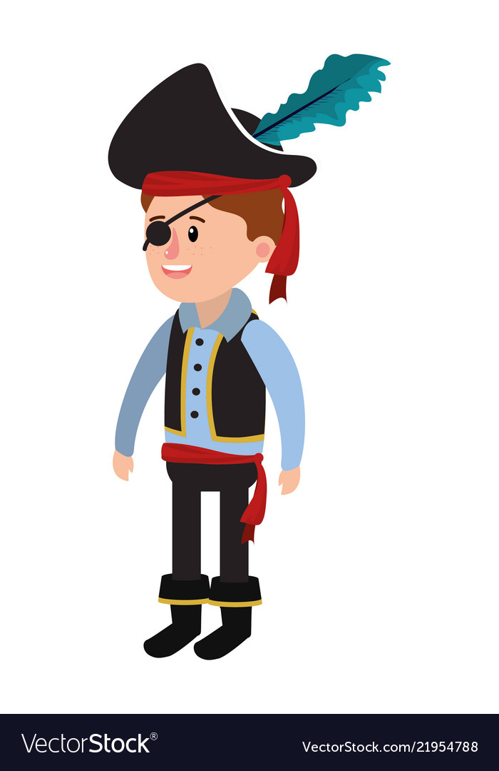 Boy with pirate costume with hat in halloween.