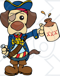Clipart Illustration of a Cute Pirate Dog Wearing An Eye.
