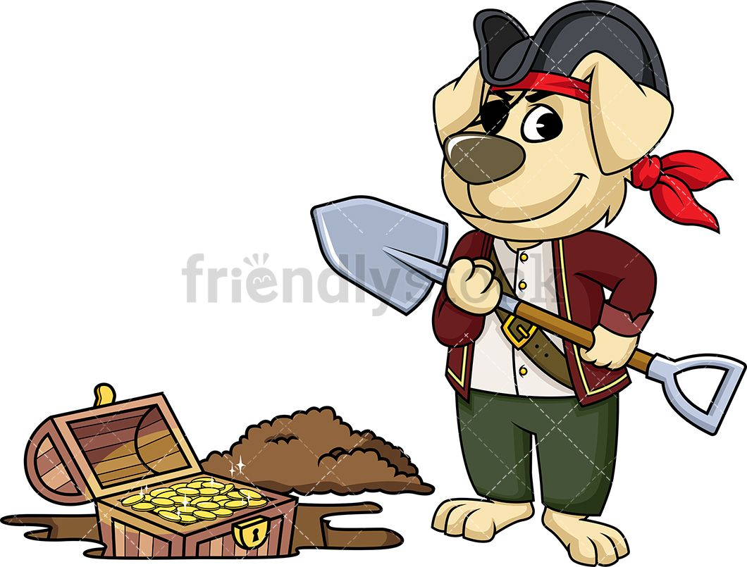 Pirate Dog Digging Up Treasure.