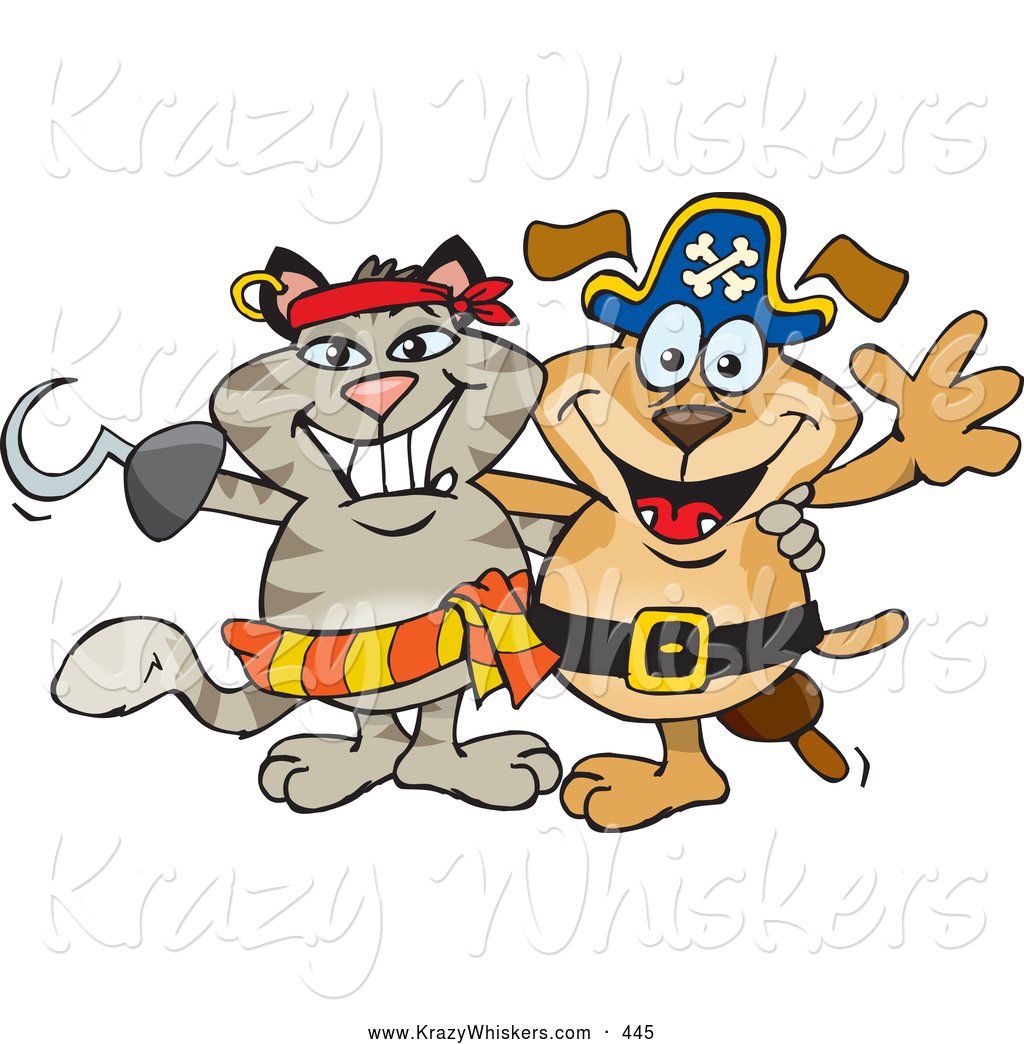 Critter Clipart of a Pirate Cat with a Hook Hand Standing.