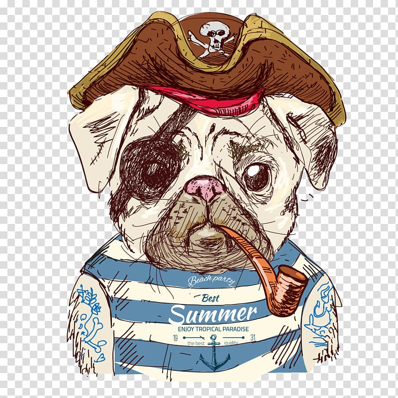 Pirate dog illustration, Pug Drawing Illustration, Cute.