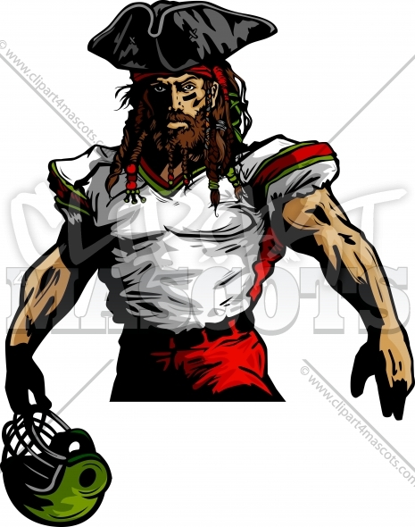 Clipart Football Pirate Vector Mascot Image.