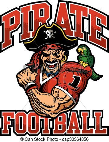 Clipart Vector of pirate football team design with muscular pirate.