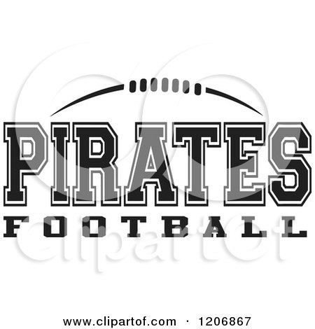 Clipart of a Black and White American Football and PIRATES.