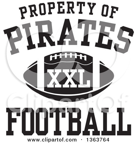 Clipart of a Black and White Property of Pirates Football XXL.