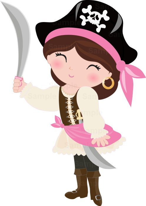 Pirate Girls Clip Art Set.