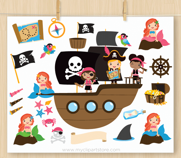 Girl Pirates Clipart.