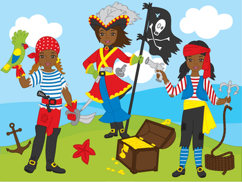 African American Pirate Girl Clipart.
