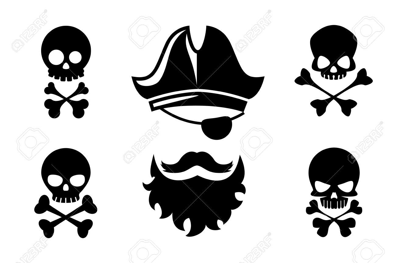 Pirate head vector icons with skull and crossed bones.