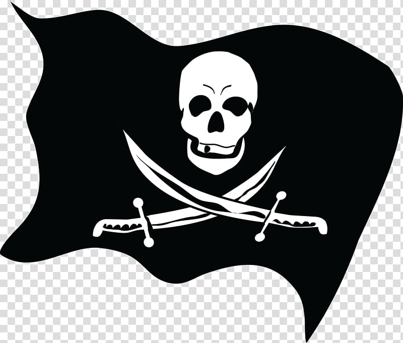 Jolly Roger Piracy Flag, Pirate flag transparent background.
