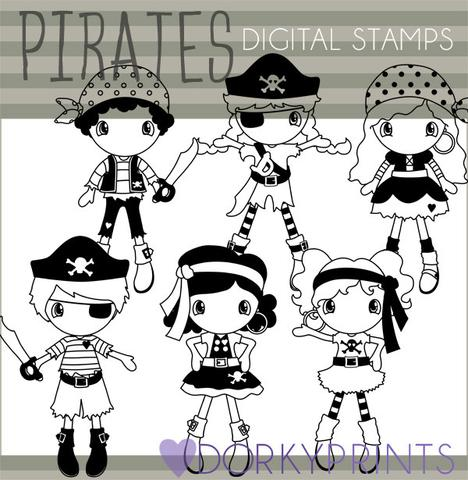 Pirate Blackline Kid Clipart.