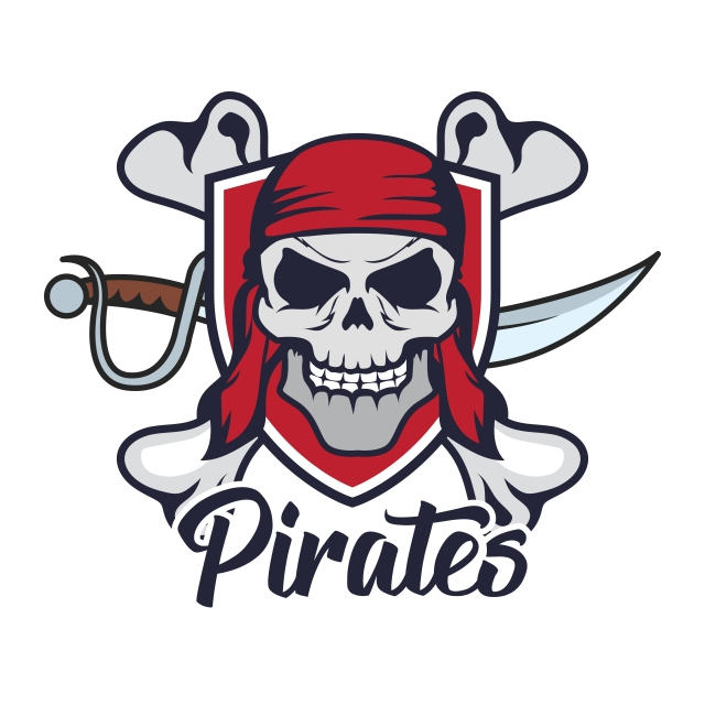Pirates Skull Logo Vector Illustration, Pirate, Print.