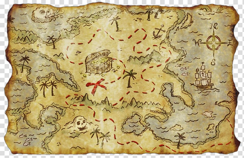 Map illustration, Treasure map Buried treasure Piracy.