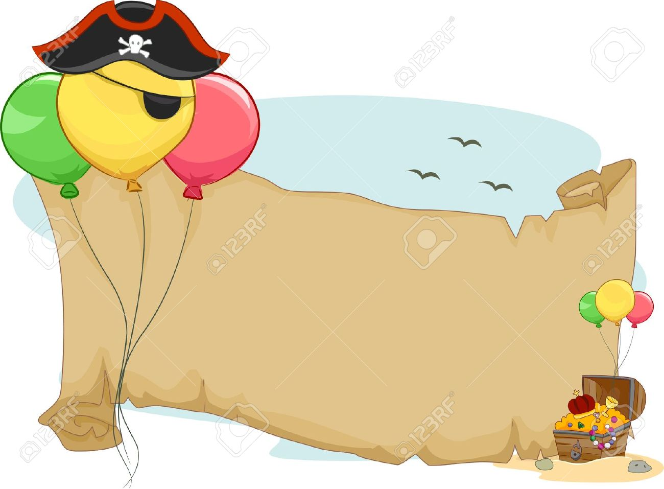 Illustration Of A Pirate Party Scroll With Balloons Stock Photo.