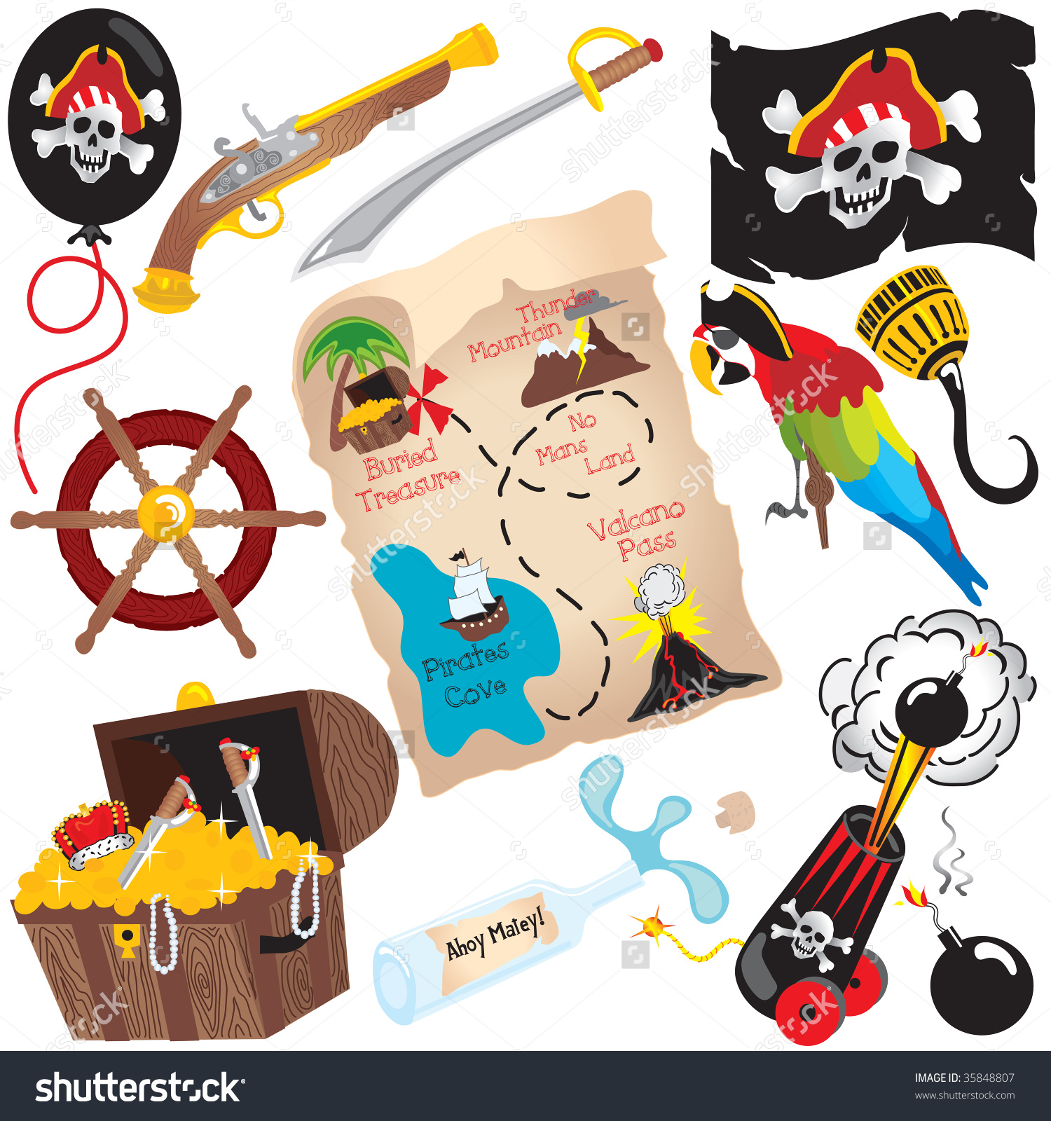 Pirate Birthday Party Clip Art Elements, Isolated On White Stock.