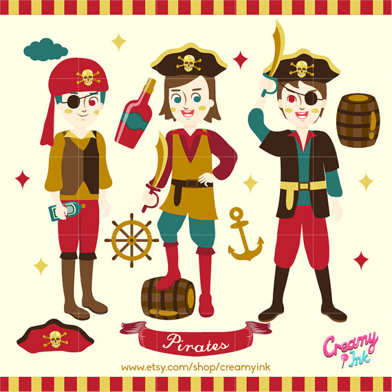 Pirates Digital Vector Clip art / Pirate Party Clipart Design.