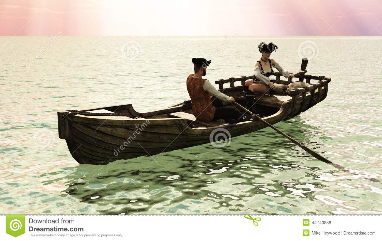 Pirate Couple In Rowboat Stock Illustration.