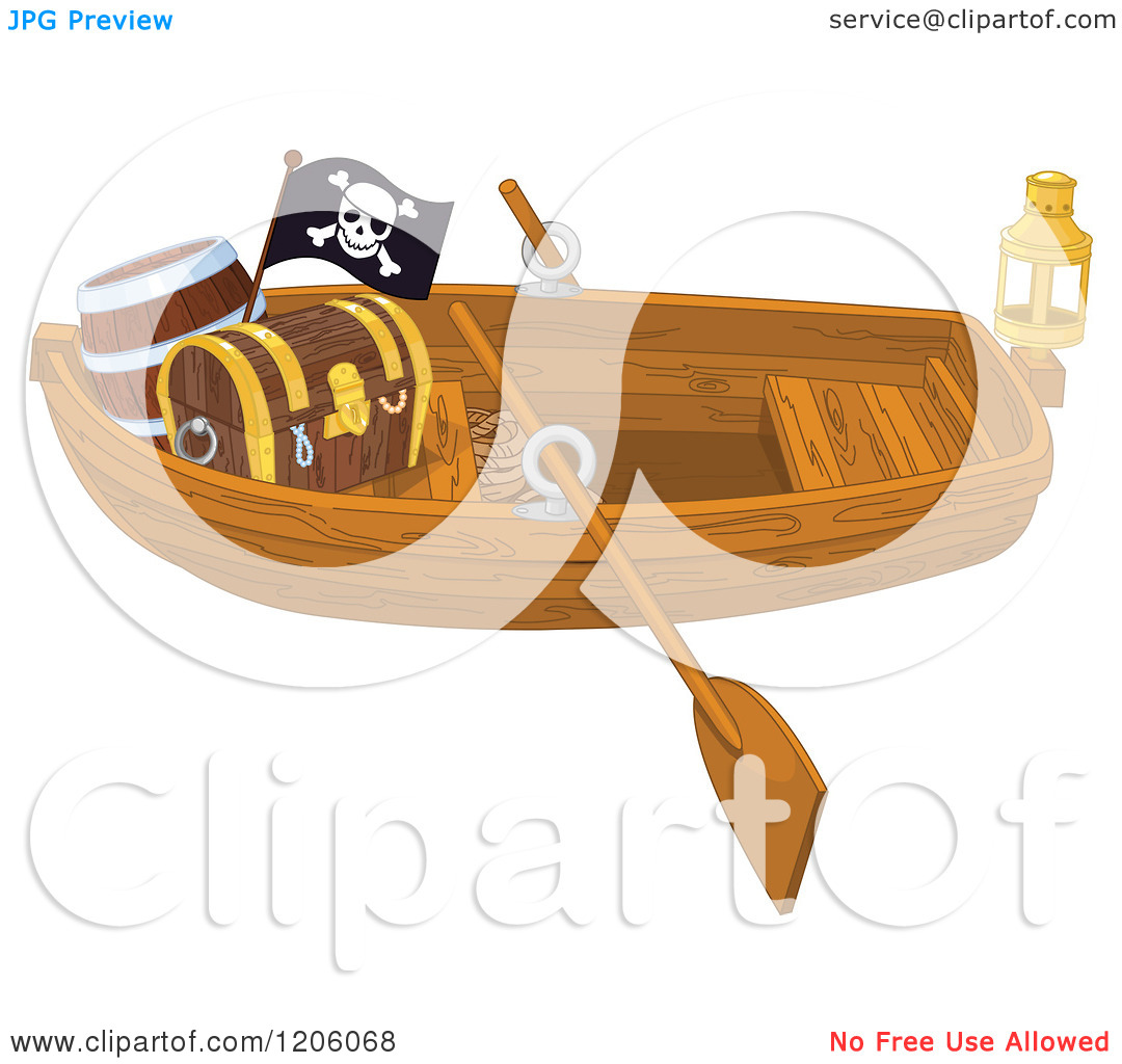 Cartoon of a Wooden Pirate Row Boat with a Treasure Chest and Flag.