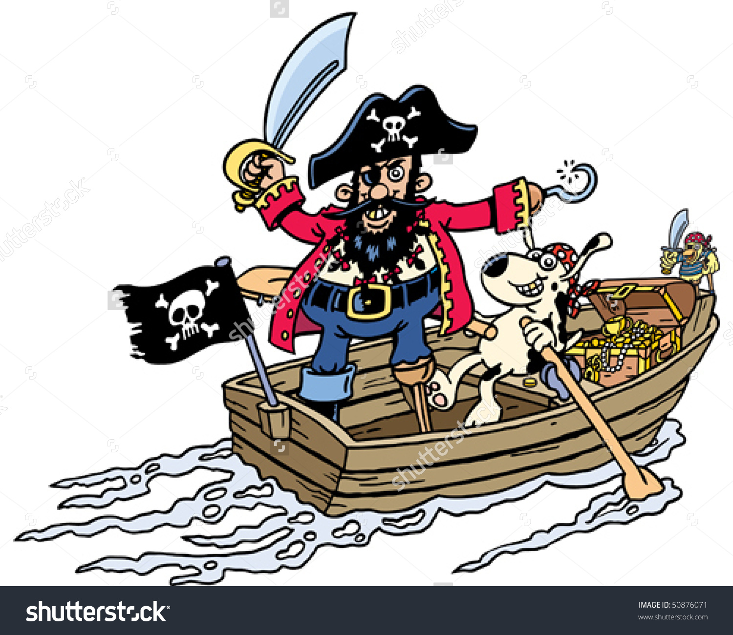 Pirate Rowboat Stock Vector 50876071.