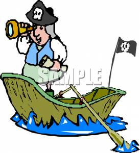 Free Clipart Image: A Pirate In a Row Boat Looking Through a Spy Glass.