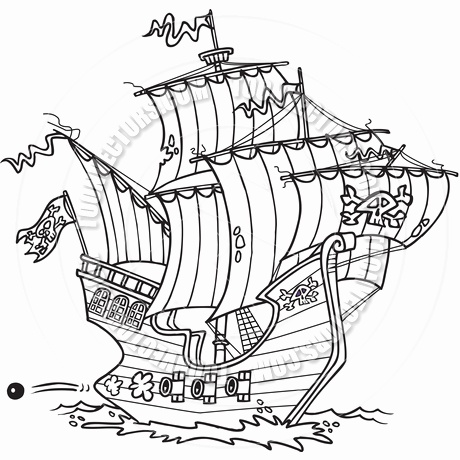 Yacht clipart black and white Luxury Cartoon Pirate Ship.