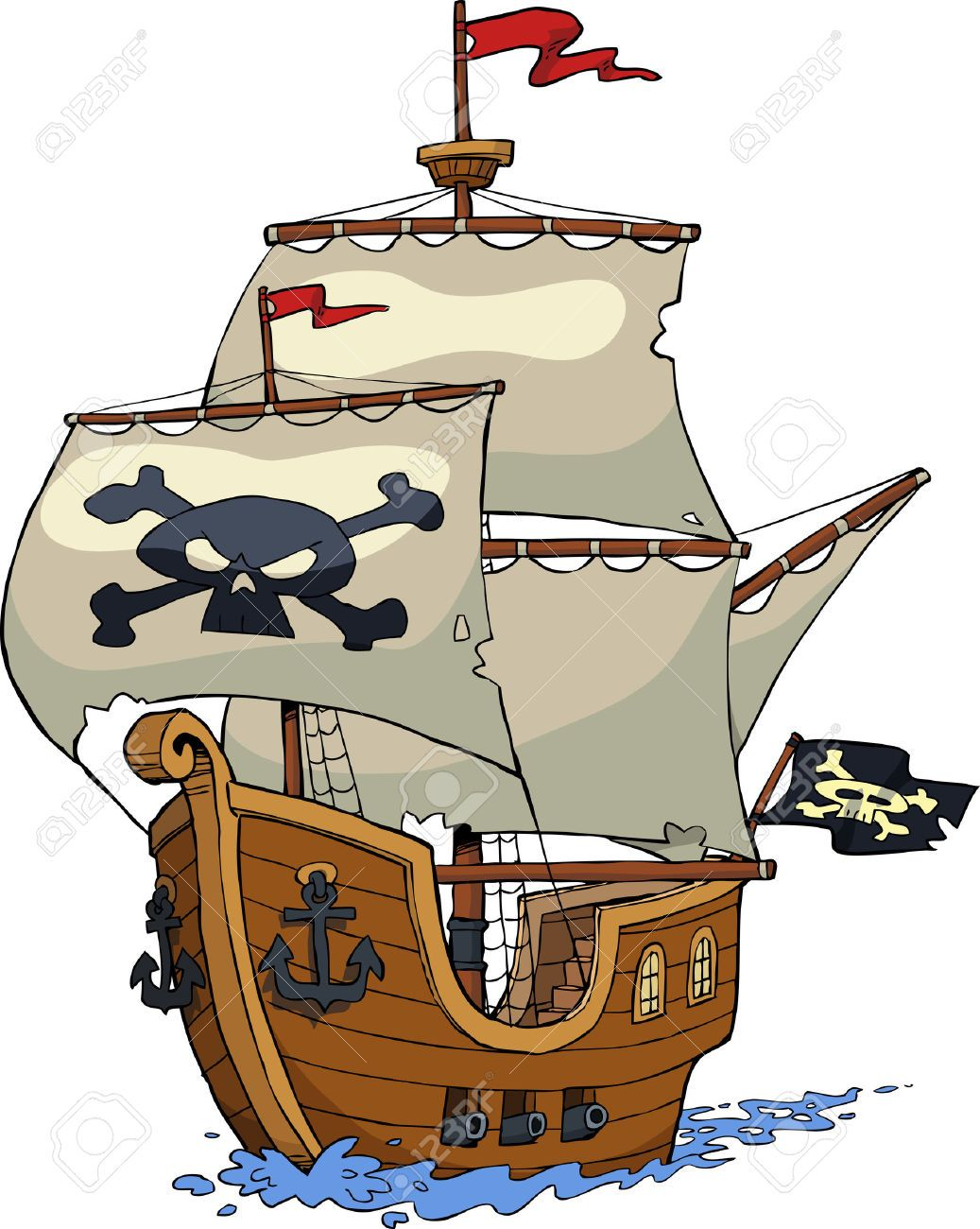 Image result for pirate ship cartoon background.
