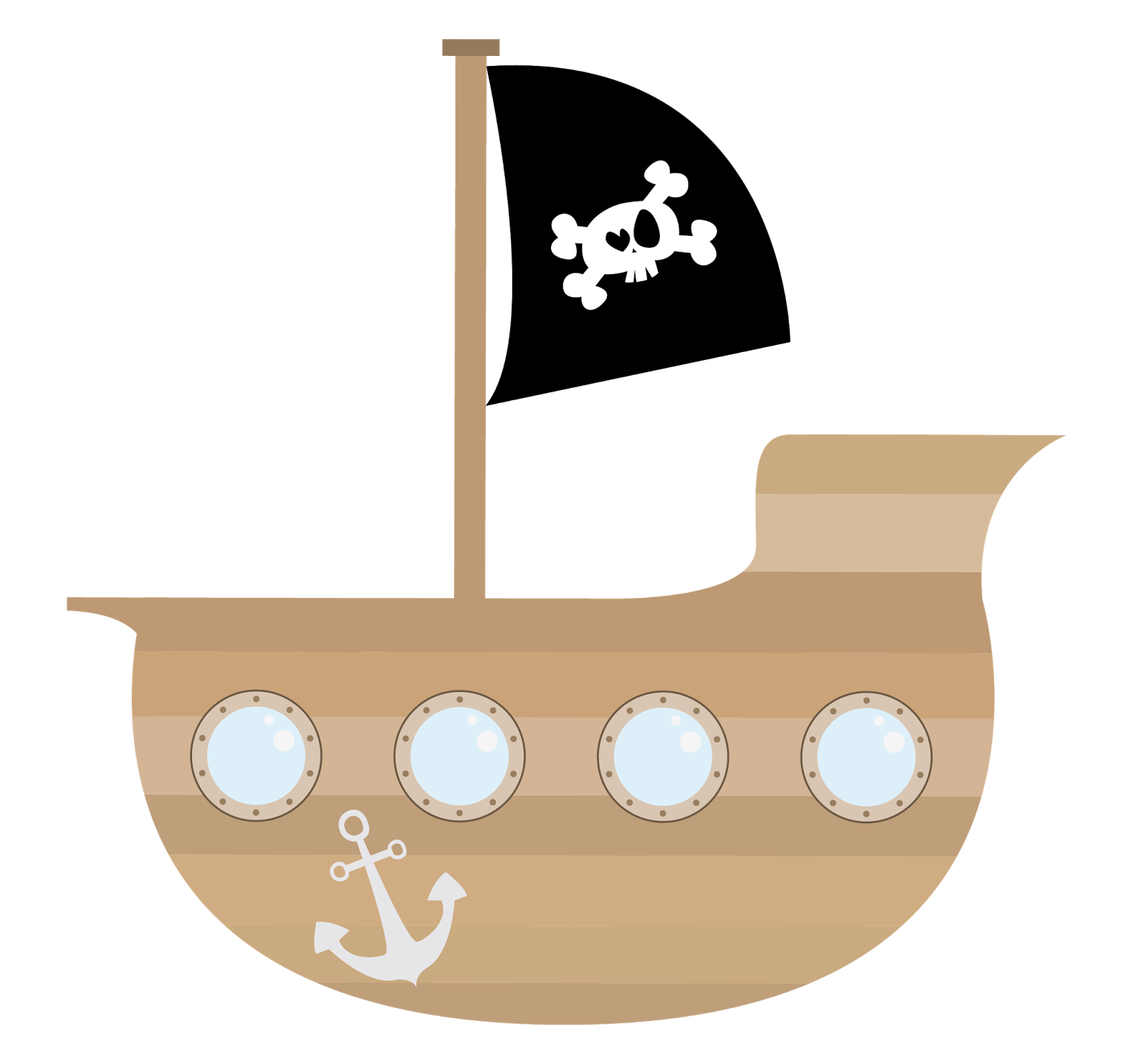 Cartoon Pirate Ship Clipart.