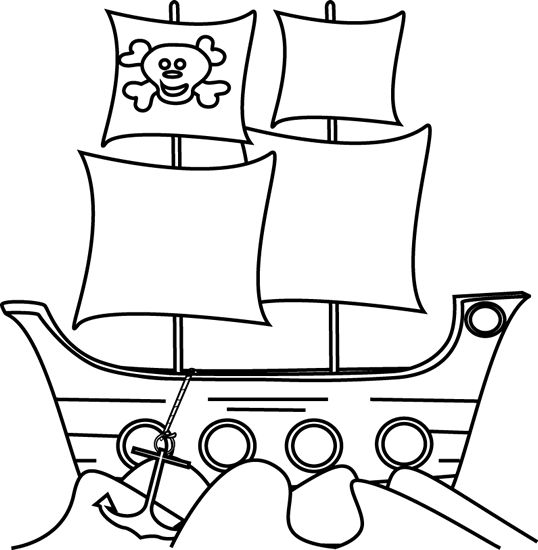 Pirate Clipart Black And White.