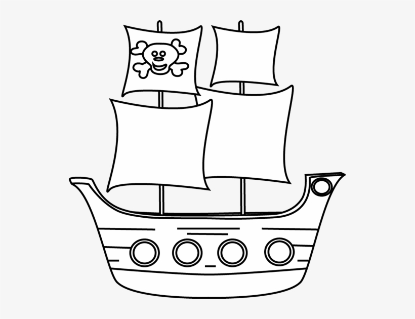 Black And White Pirate Ship Clip Art.