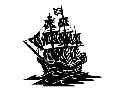Black pirate ship Logos.