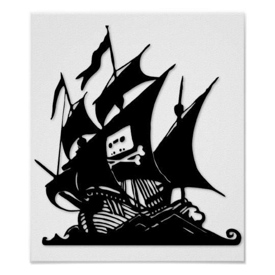 The Pirate Bay Logo Ship Poster.