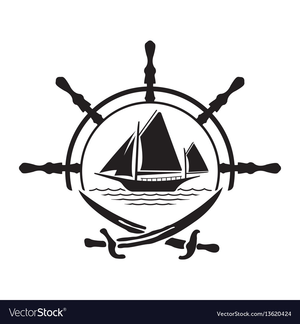 Pirate yacht boat logo with wheel and swords.