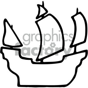 black white pirate ship silhouette clipart. Royalty.